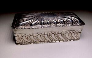 Antique Victorian Sterling Silver Trinket Box Case Repousse