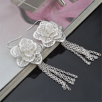 925 Sterling Silver Plated Fashion Jewelry Rose Flower Drop Earrings Gift SE070