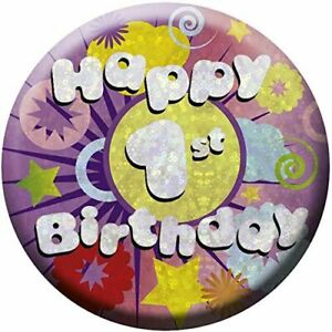 Amscan 1ST HAPPY BIRTHDAY Round Badge Novelty Party Gift Childeren's Present