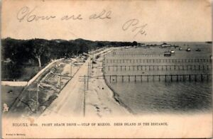 Postcard Biloxi Miss Front Beach Drive Gulf Of Mexico 1910 Undivided Back