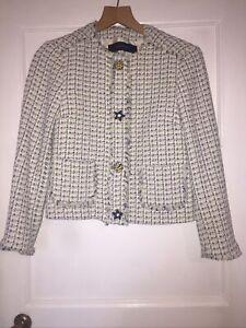 Zara Yellow And Blue Boucle Tweed Blazer Jacket Size Small