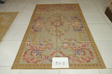 5'X8' Vintage Royal Home Decor French Pink Swirls Roses Wool Aubusson Carpet