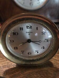 Vintage Swiza Brass 8 Day Alarm Clock