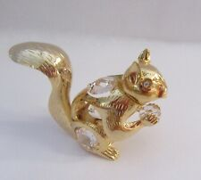 Figurine SQUIRREL  -Austrian Crystals- 24k gold plated- clear crystals