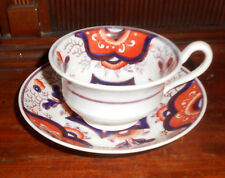 Antique Circa 1860 Gaudy Welsh Porcelain Cup and Saucer