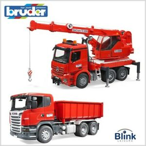 BRUDER 1:16 Scania R-Series Tipping Container Truck + Arocs Crane Truck