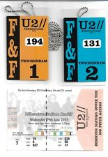 U2 - Vertigo 2005 Tour - Rare UK Twickenham F&F laminate tour passes + ticket
