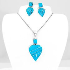Sterling Silver Turquoise Teardrop Heart Pendant Earring Set Taxco Mexico
