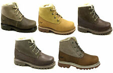 CATERPILLAR POUTY LACE LEATHER DESERT WALKING HIKING FUR ANKLE BOOTS SIZE 3-8 UK