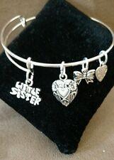 Expandable Silver Colored Bangle Charm Bracelet LITTLE SISTER/SIBLING