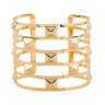 Fashion Retro Men Women Gold Hollow Out Rivets Punk Bangle Open Cuff Bracelet