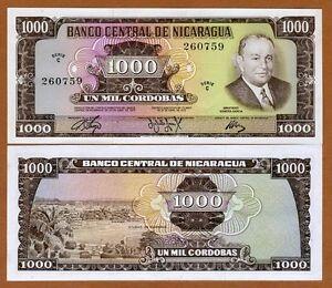 Nicaragua, 1000 cordobas, 1972, P-128 (128a), C-Serie, UNC > Rare