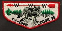 MERGED TY-OHNI OA LODGE 95 417 BSA OTETIANA COUNCIL NY WOLF AND TREES FLAP