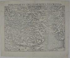POLAND 1550 ORIGINAL ANTIQUE MAP LITHUANIA LATVIA RUSSIA BELARUS UKRAINE MUNSTER