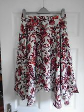 NEW Cream + red/brown/pink floral print hanky hem 1/2 elastic summer skirt UK 20