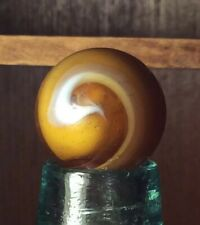 "Large Vintage 29/32"" M.F. Christensen 9 Amber Slag Marble Machine Made Shooter"