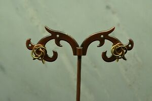 14K YELLOW & ROSE GOLD SWIRLY DESIGN SCREWBACK EARRINGS