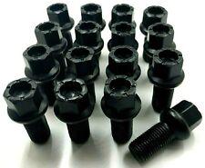 16 x ALLOY WHEEL BOLTS BLACK FOR VW GOLF MK4 MK5 MK6 MK7 RADIUS STUDS NUTS 92