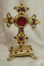 Gold Cast Iron Cross Reliquary-All Red Gems-Red Velvet Padded Lining-NICE!