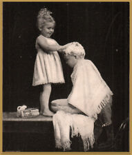1898 Packer's Tar Soap Little Girl Washing Little Brother's Hair Basin Print Ad