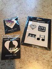 Lady Gaga & Elton John Love Bravery Pins Piano Shoe + 4 Patches Heart ETC + NEW