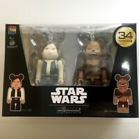 STAR WARS BE@RBRICK 100% HAN SOLO CHEWBACCA 2pc Figure Japan Limited Medicom Toy