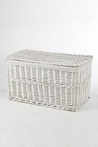 VIVANNO Truhe Wäschetruhe Korb aus Weide, 'Lea', 80 cm, Weiß