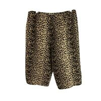 Allison Taylor Womens Size 8 Animal Print 100% Silk Bermuda Shorts High Rise