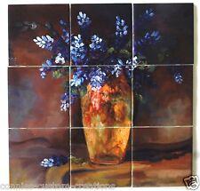 Sale Bluebonnet Vase Art Tile Mural Kitchen Back Splash Decorative Ceramic