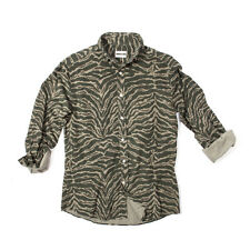 Michael Bastian Men's Green Tiger Camo Print Cotton Shirt Ultra Fine Corduroy S