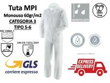 TUTA DI PROTEZIONE PROTETTIVA MONOUSO MPI CATEGORIA 3  TIPO 5/6 RISCHIO CHIMICO
