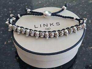 Superb Links of London Skull Friendship Bracelet in charcoal, pristine, hallmark