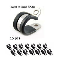 15Pcs Car Tubing Clamp Cable Wire Hose Pipe Clamp R Clips Rubber Lined Tube