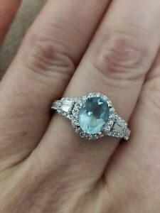 🎀2ct Natural Aquamarine & simulated diamond halo ring solid 925 Sterling silver