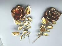 METAL Brass Copper Bronze  Look (2) metal ROSES wall sculpture  hangings VINTAGE