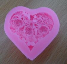 LOVING HEART ROSE SHAPE SILICONE MOLD FONDANT FOR CAKES SOAP CANDLES DECORATION