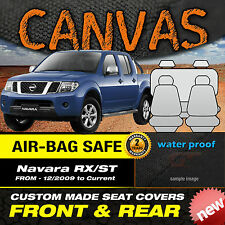 Nissan Navara D40 RX-ST BLACK Canvas Custom Seat Covers F+R 12/2009-2015 Express