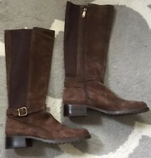 """New! DONALD PLINER """"Bolade"""" Riding Boots •Womens 9.5• BROWN Suede Stretch"""