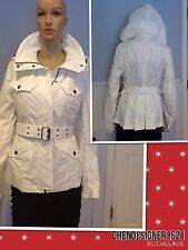 100% AUTH Burberry Women Removeble Hooded Jacket Size 6 UK 10 White 100% Cotton.
