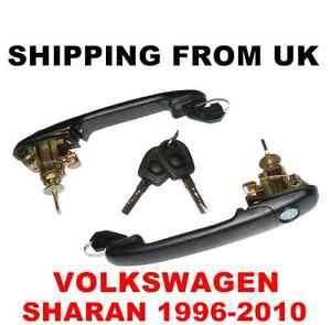 2 HANDLE + DOOR LOCK SET FRONT LEFT RIGHT 2 SAME KEYS for VW SHARAN MK1 42mm PIN