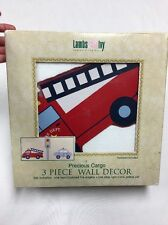 LAMBS IVY PRECIOUS CARGO Fire Truck POLICE Children's room 3 Piece WALL DECOR @