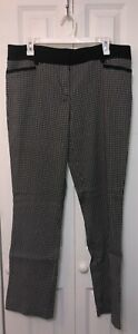New York & Company Black and White Houndstooth Straight Leg Pant Size 12 Average