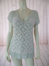 Field Flower Anthropologie Sweater Vest XS Mint Green Heather Crochet Boxy BOHO!