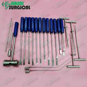 22 PCS Mueller-Type Cement Removal Instruments Titanium Blue 22 Pcs Orthopedic