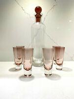 Luigi Bormioli Gallerie Pink Rose Liqueur Set in box 6 Shot Glasses & Decanter