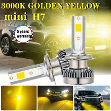 2x H7 Car Driving LED Headlight Kits 2200W 39000LM Fog Lights Bulbs 3000K Yellow
