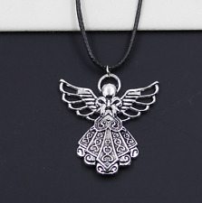Free 1pcs Tibetan Silver Pendant Angel  Necklace Choker Charm Black Leather NEW