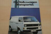 00015) VW Bus T3 Transporter - Pritsche - Doppelkabine - Prospekt 08/1983