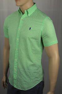 Ralph Lauren Green Seersucker Checkered Classic Short Sleeve Shirt NWT