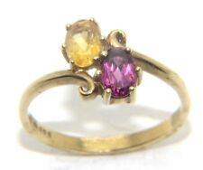 Mujer 9 ct 9 oro amarillo & morado con pedrería vestido anillo talla UK N 1/2